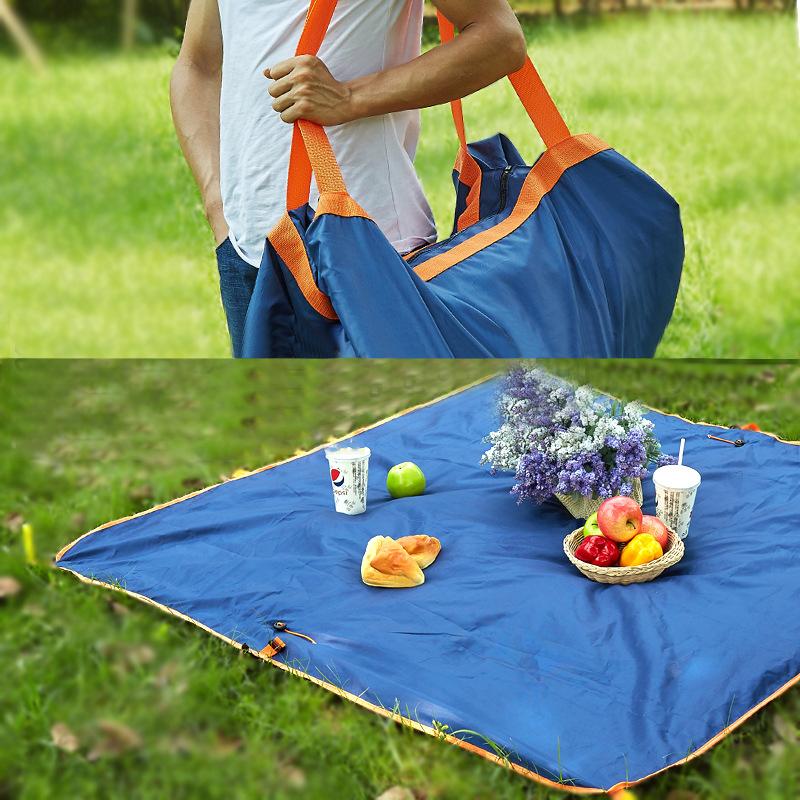 145 x 145cm Double Layer Waterproof Collapsible Carpet Beach Bag Blanket Camping Multifunction Pad Moistureproof Mat Picnic Garden Outdoor