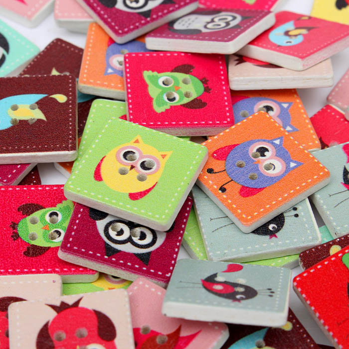 100pcs Wooden Owl Pattern Sewing Buttons DIY Craft Purse Baby Clothes Decoration Sewing Button