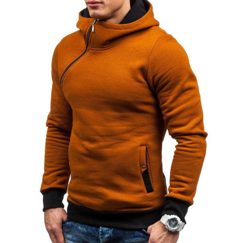 Men's Casual Modish Tilted Zipper Patchwork Sweatshirt