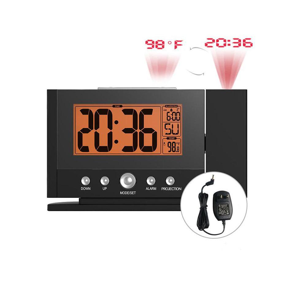 BALDR Digital Projection Alarm Clock 12/24 Hour Optional Calendar Function Indoor Temperature Snooze Fuction Projection Clock