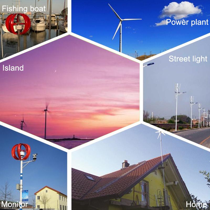 600W 24V 3 Blade Wind Generator Small Horizontal Wind Turbine Power Supply Kit