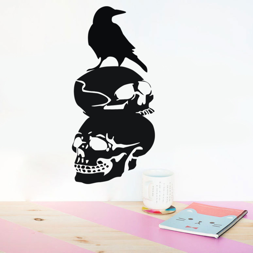Halloween Skull DIY Wall Sticker Removable PVC Wallpapers Vinyl Art Decal Decor Waterproof Stickers Household Home Wall Sticker Poster Mural Decoration for Bedroom Living Room