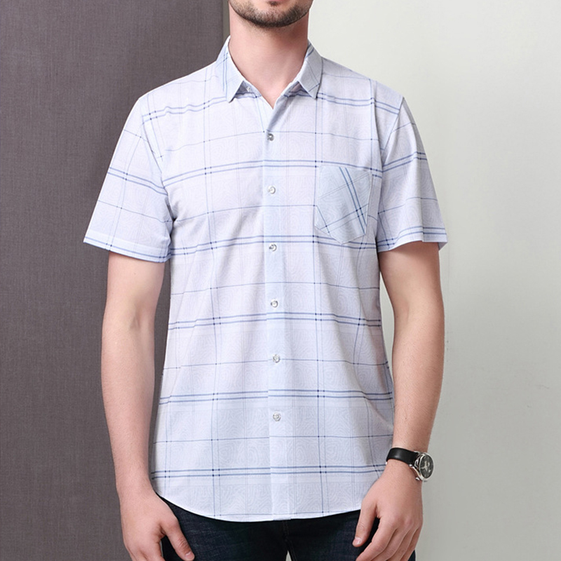 Summer Soft Comfy Silk Plaid Pocket Short Sleeve Shirts