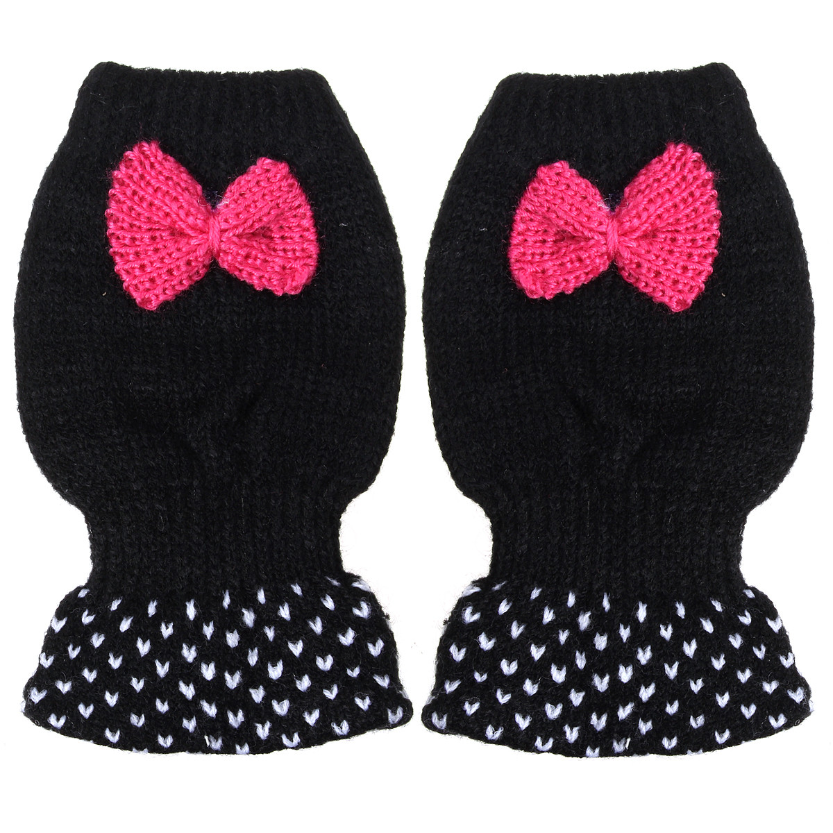 Women Ladies Cute Crochet Knitted Fingerless Gloves Hand Wrist Bowknot Mittens