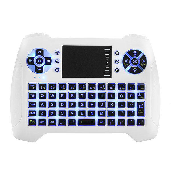 Sungi T16 Blue Backlit 2.4G Wireless White Mini Keyboard Touchpad Air Mouse