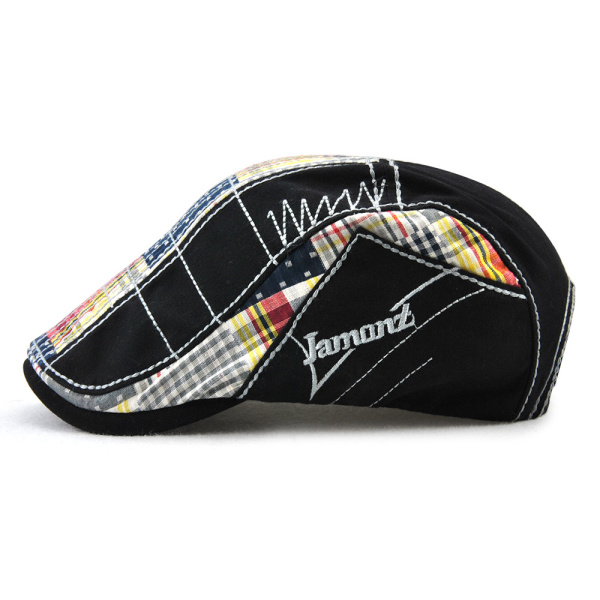 Men Women Cotton Washed Stripes Embroidery Beret Hat Buckle Adjustable Golf Gentleman Cap