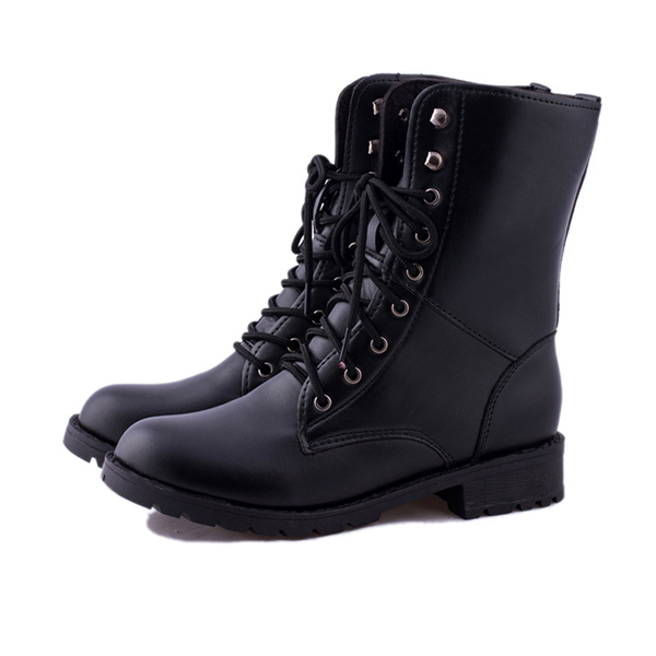 US Size 5-10 Lace Up Casual Fashion Outdooors Women Mid-Calf Boots