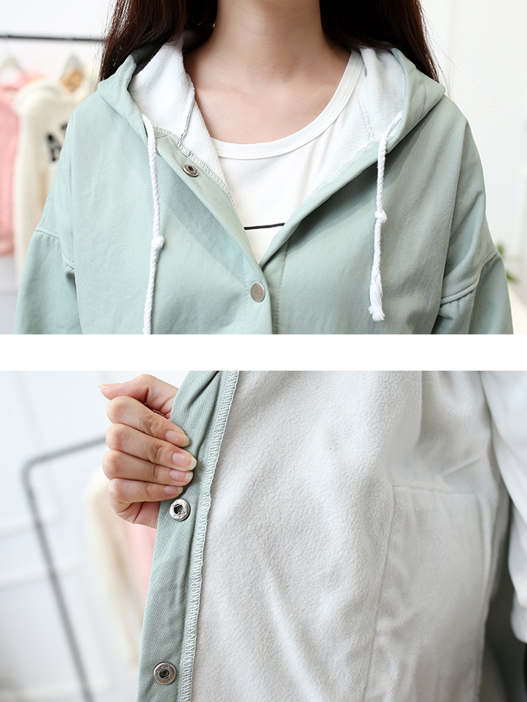 Casual Solid Color Hooded Long Sleeve Loose Women Jacket