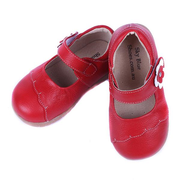 Girls Pure Color Flower Hook Loop Soft Dress Shoes Kids Casual Flats