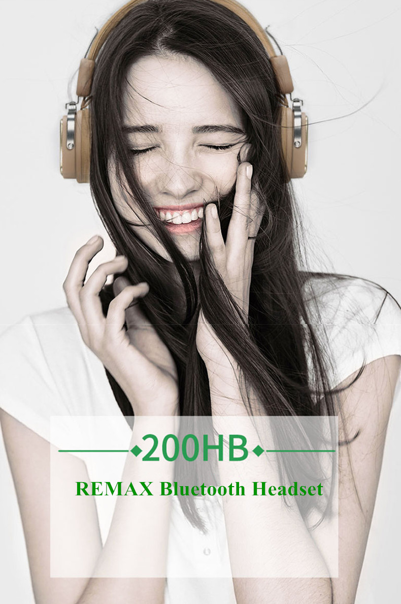 Original REMAX 200HB Adjustable Soft Leather AUX Wireless Bluetooth 4.1 Headphone Headset