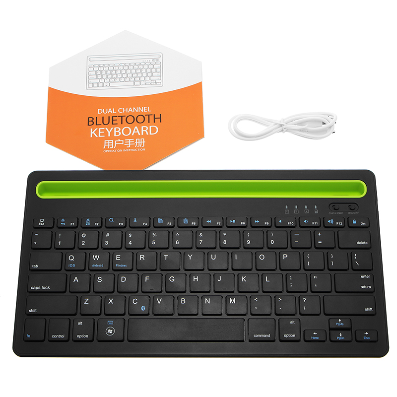 Dual Channel bluetooth Wireless Keyboard Ultra Thin Portable Keyboard for Phones Pads