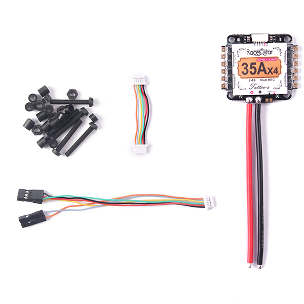 Racerstar Tattoo_S 35A 4 In 1 2-4S STM32F051/ARM Blheli_32 Dshot1200 Ready Dual BEC ESC for RC Drone Racing