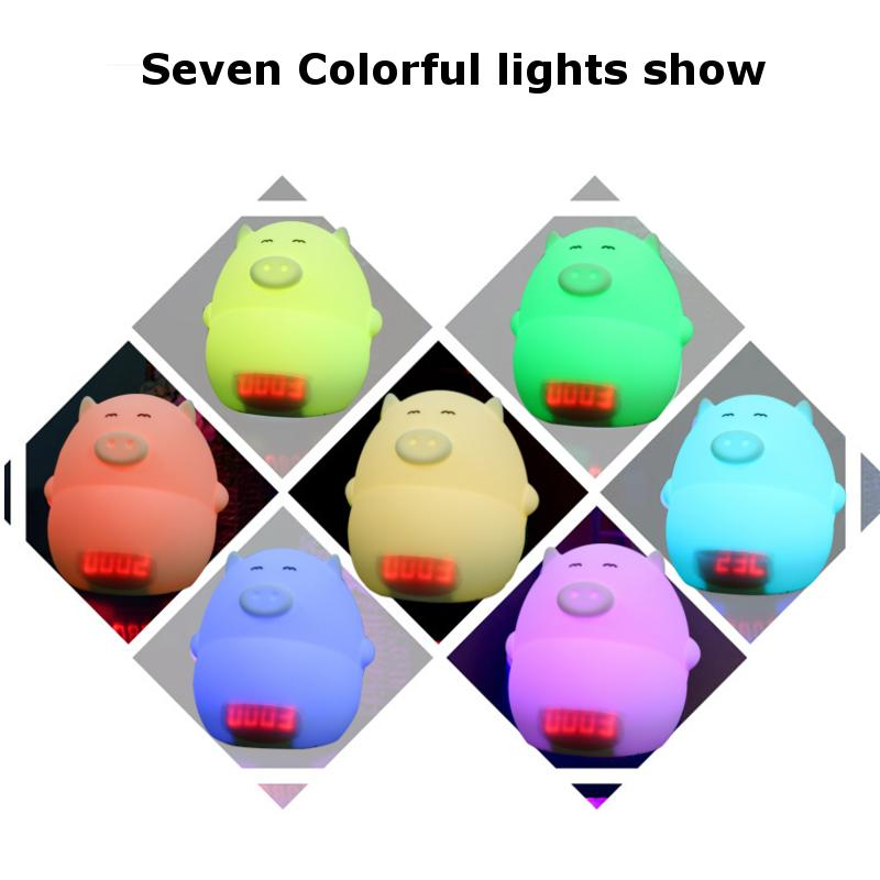 Lovely Cartoon Pig LED Night Light Sound Control Table Lamp with Alarm Clock USB Rechargeble