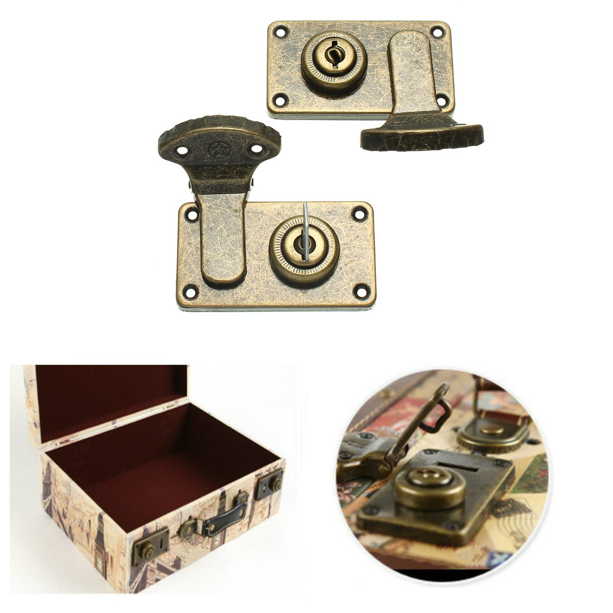 2pcs Brass Lock Closure Buckle For luggage Box Suitcase