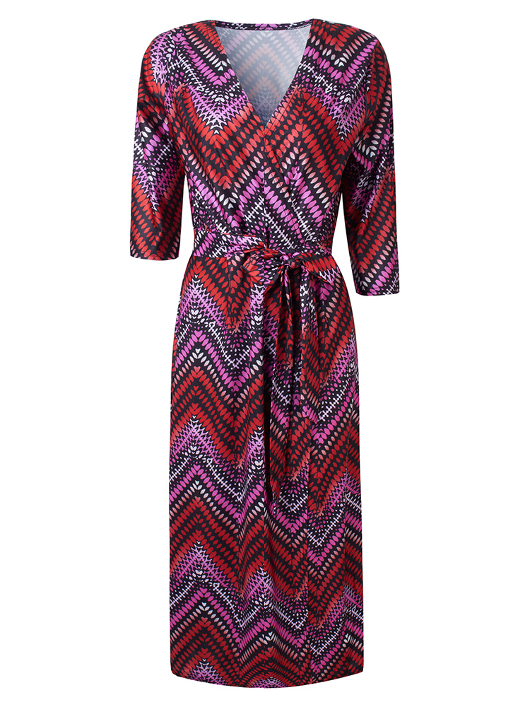 Sexy Stretch Wave Printed V Neck Maxi Dress For Women With Belt
