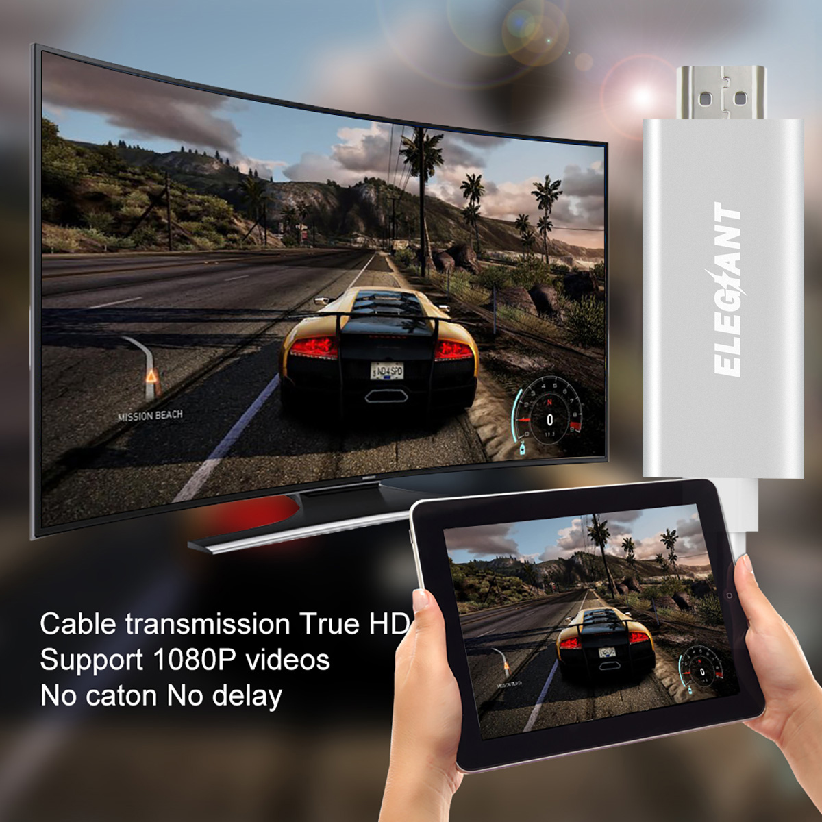 ELEGIANT Wired Display Dongle 1080P HD Adapter Miracast AirPlay Mirroring Cable For iPhone