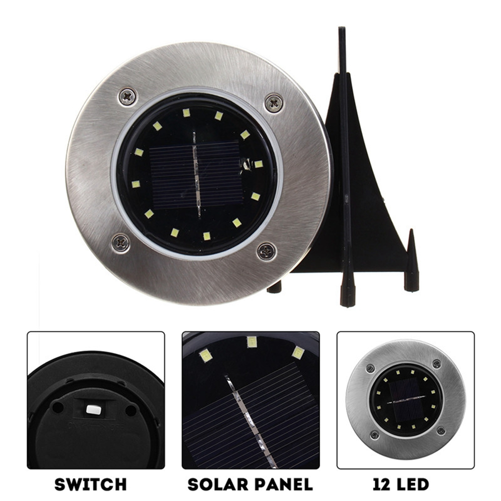Solar Powered 12 LED Buried Light Under Ground Lamp Outdoor Path Garden Decor