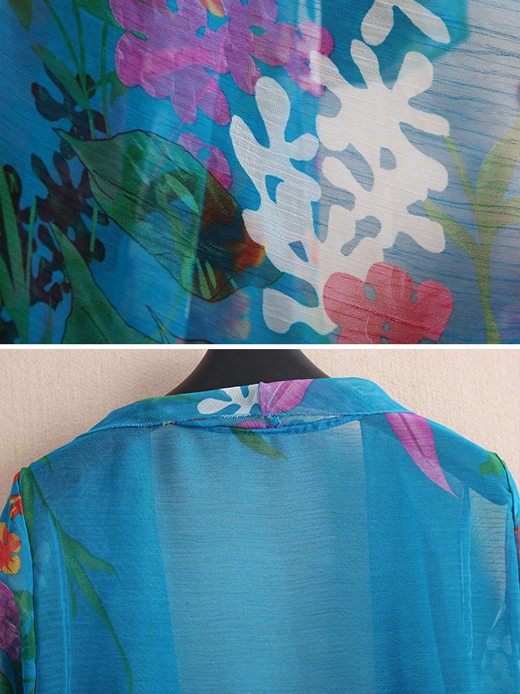 Casual Women Floral Printed 3/4 Sleeve Sheer Kimono