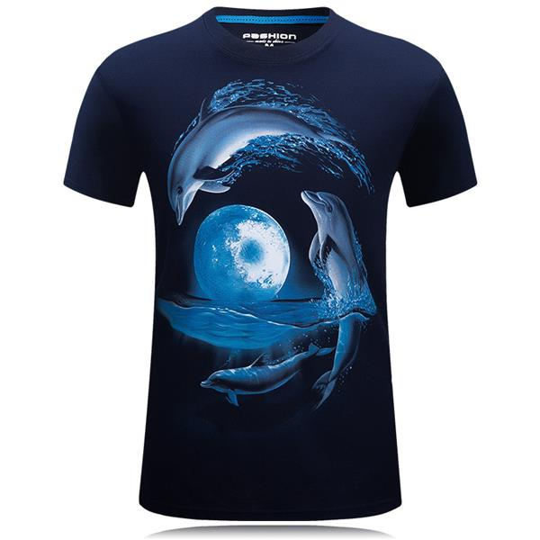 Mens Dolphin 3D Animal Printed Plus Size S-4XL Fashion Casual Tees Short Sleeve T-shirt
