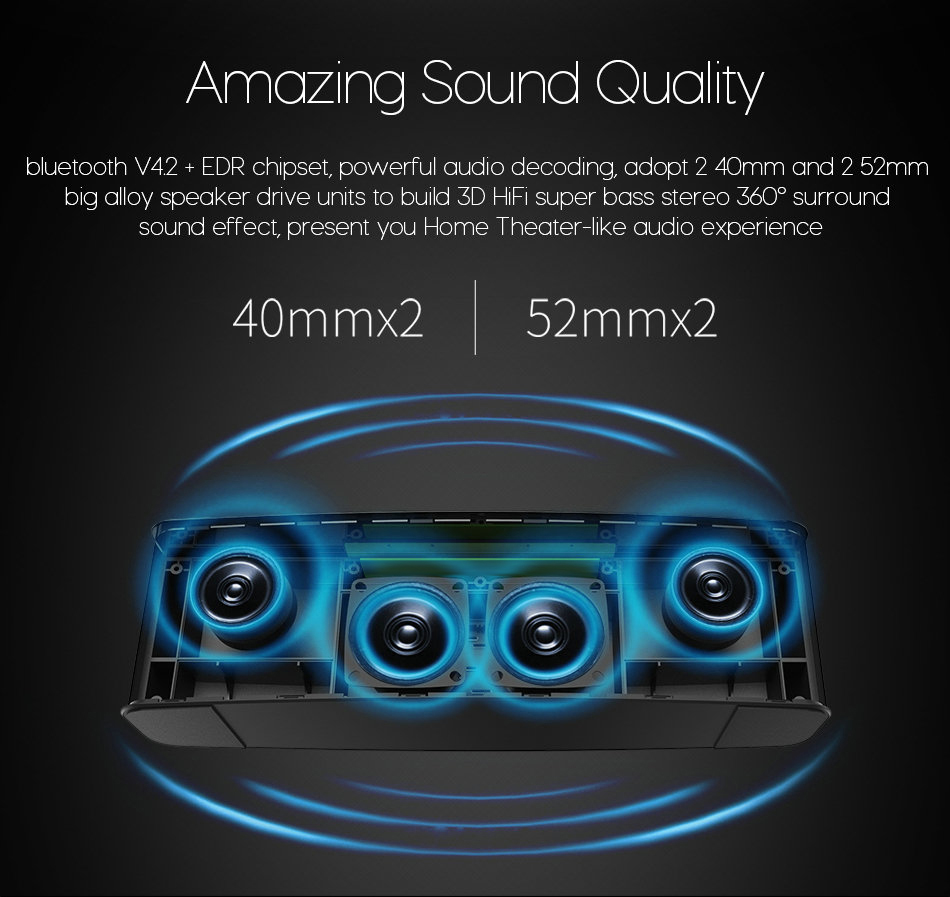 ZEALOT S12 3D HiFi Wireless bluetooth Speaker Quad Unit 4000mAh Touch Control Bass Stereo Subwoofer