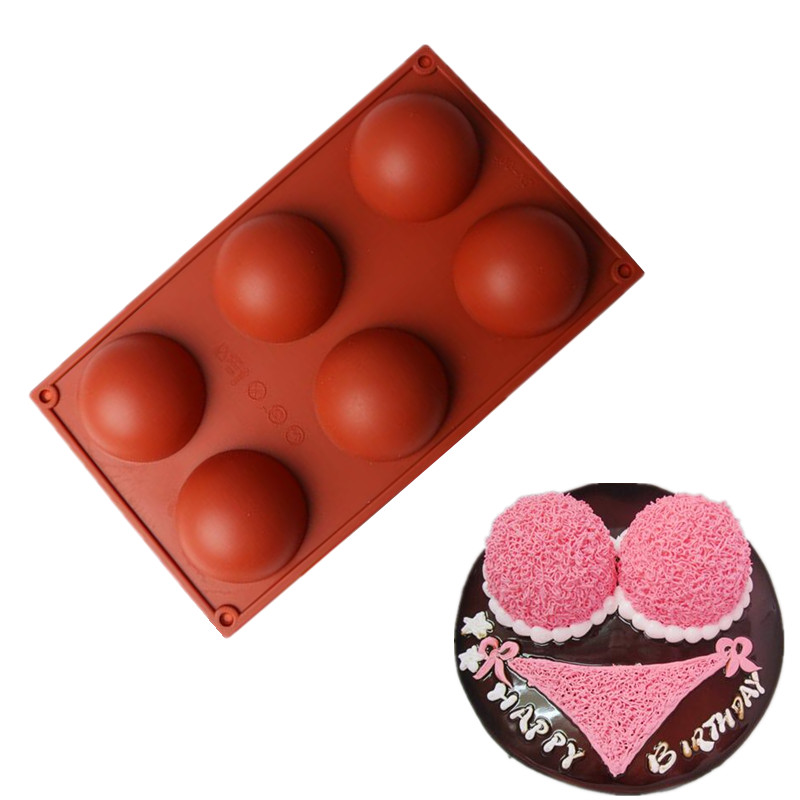 6 Holes Domed Silicone Cake Mold Chocolate Pudding Jelly Soap Ice Mold Fondant Pastry Mould