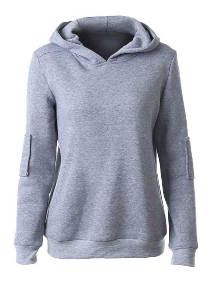 Casual Solid Hooded Patchwork Long Sleeve Women Pullover Sweatshirt