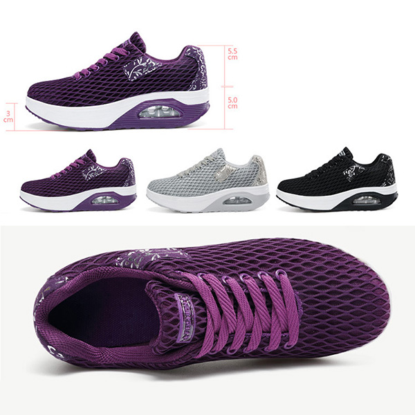 Women Breathable Platform Rocker Sole Mesh Lace Up Trainers