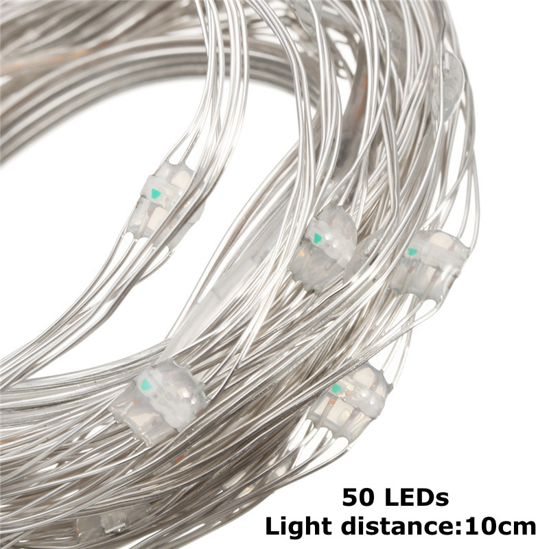 USB Powered 5.3M 50LEDs RGB 8 Modes Silver Wire Fairy String Light+Remote Control for Christmas