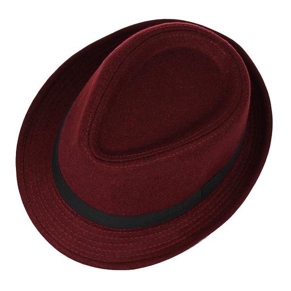 Unisex Jazz Cap Vintage Woolen Bucket Trilby Brim Fedora Panama Hat