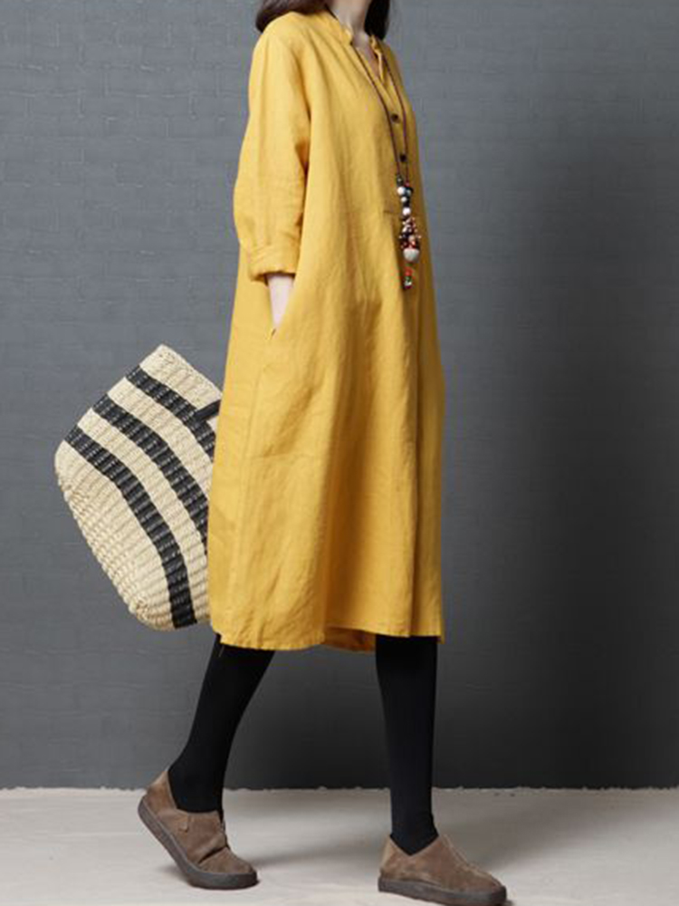 Vintage Long Sleeve Solid Color Linen Cotton Dress