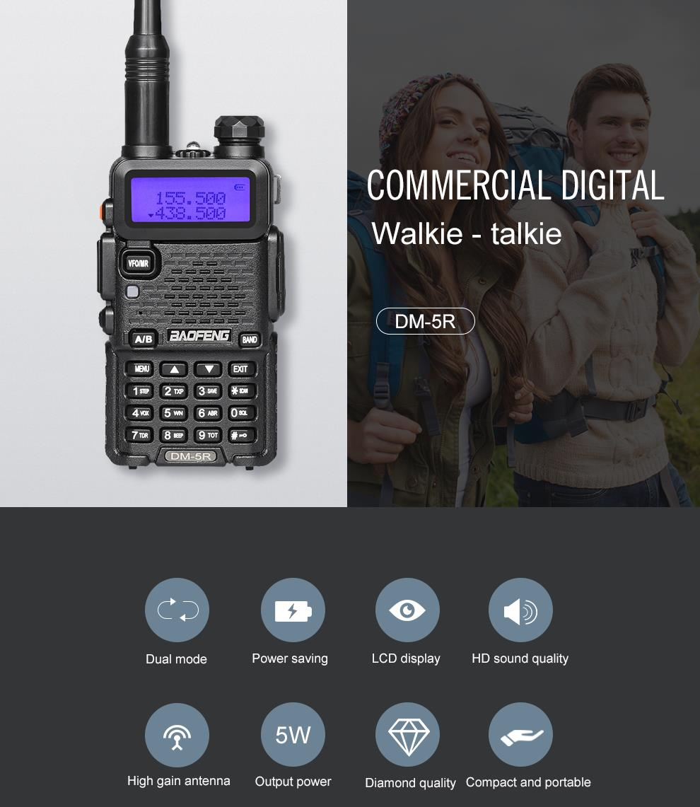 BAOFENG DM-5R Intercom Walkie Talkie DMR Digital Radio UV5R Upgraded Version VHF UHF 136-174MHZ/400-480MHZ