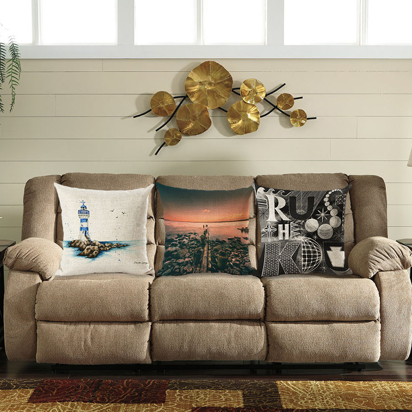 Honana 45x45cm Home Decoration Ocean Sea and Letters 3 Optional Patterns Cotton Linen Pillowcases Sofa Cushion Cover