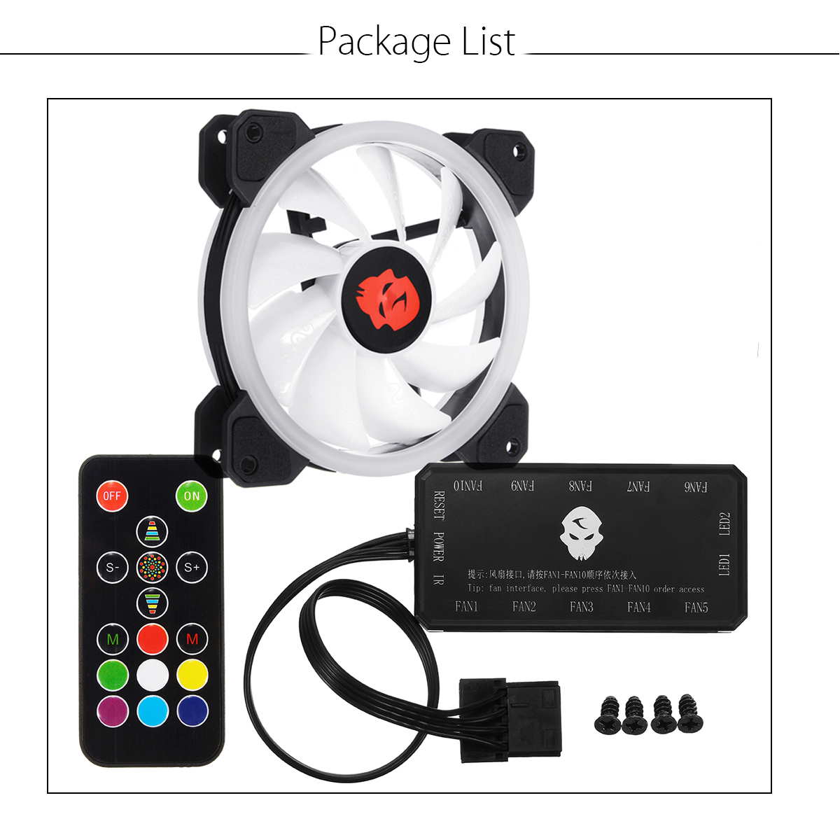 Coolmoon 1PCS 120mm Adjustable RGB LED Light Computer Case PC Cooling Fan with IR Remote Controller