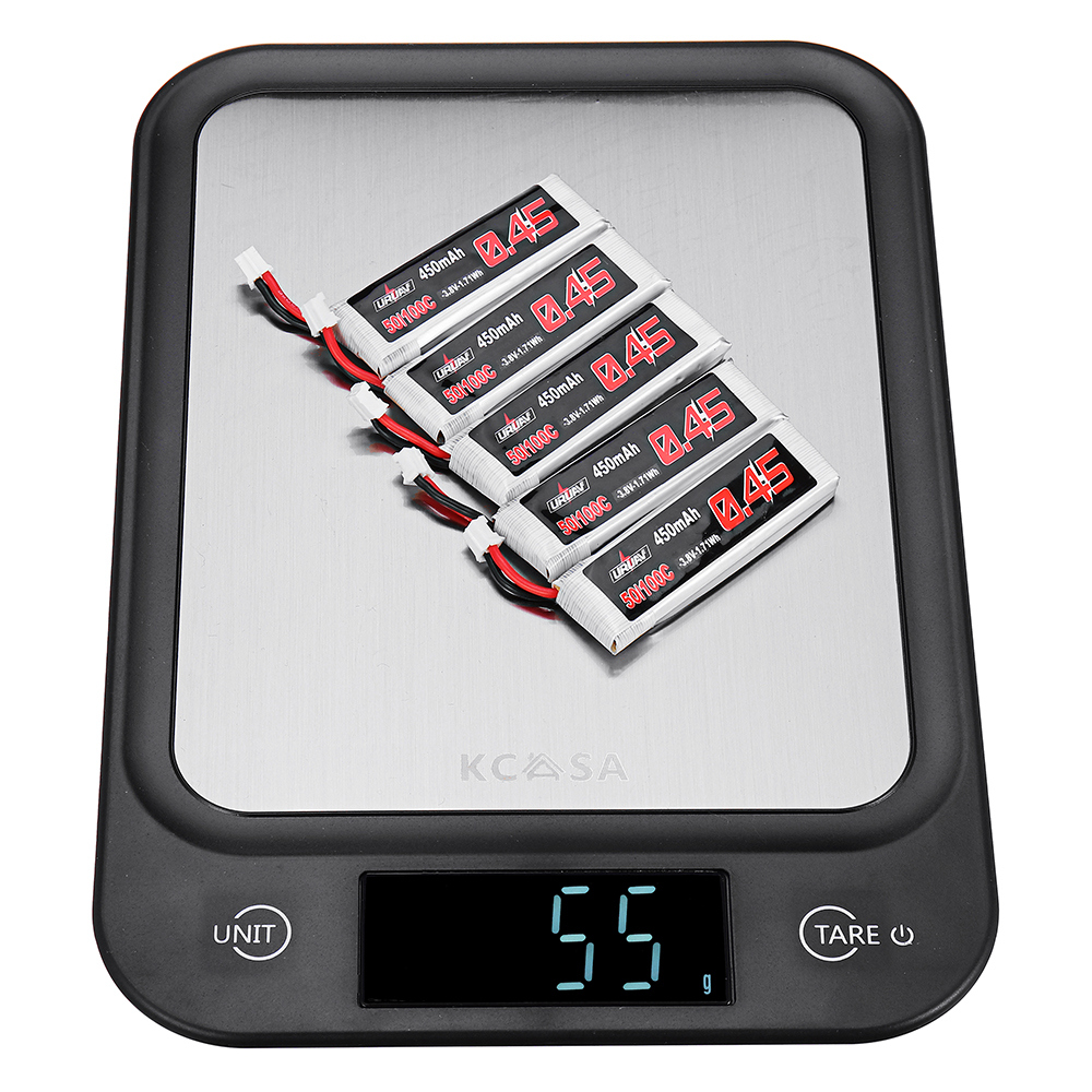 5Pcs URUAV 3.8V 450mAh 50/100C 1S HV 4.35V Lipo Battery PH2.0 for Emax Tinyhawk Tiny7 Happymodel Snapper7
