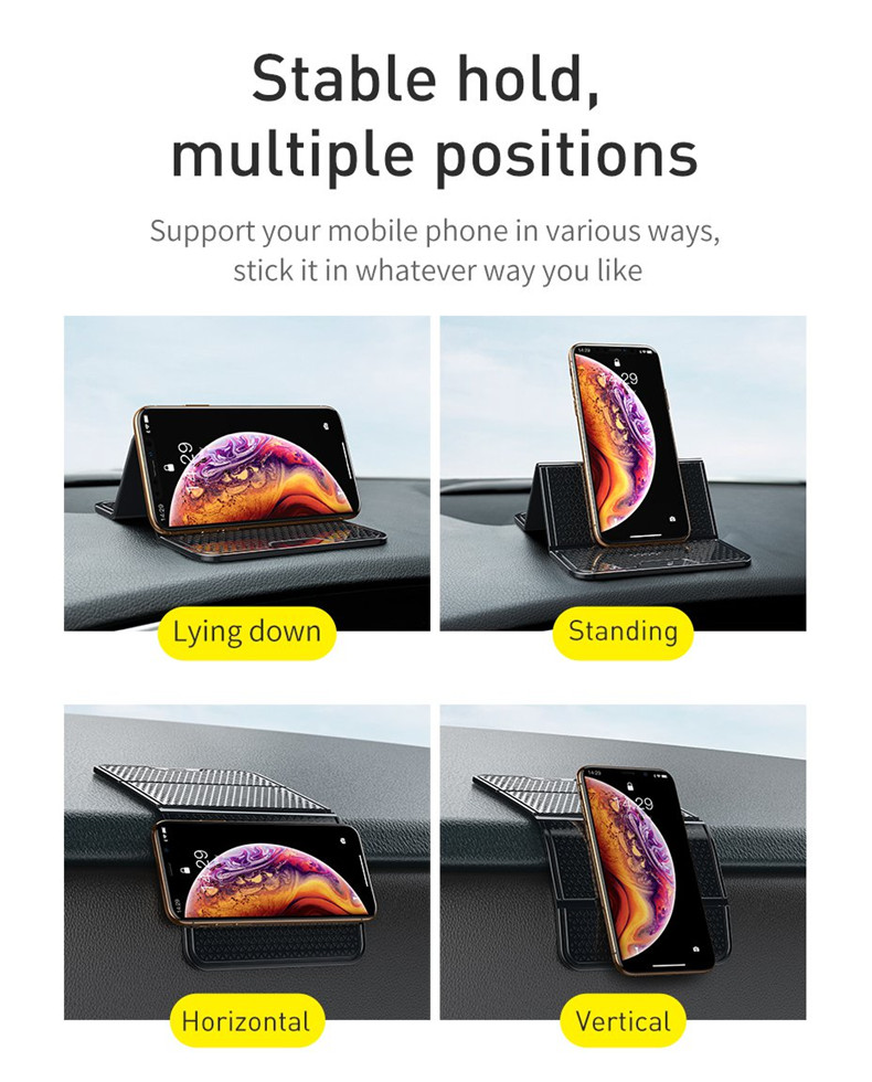 Baseus Nano Powerful Sticky Adhesive Foldable Car Mount Dashboard Holder for Xiaomi Huawei Mobile Phone