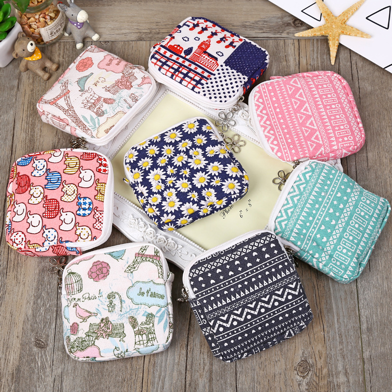 Cute Women Sanitary Napkins Bag Menstrual Pads Carrying Easy Bag Small Articles Gather Pouch Case Purse Holder Organizer