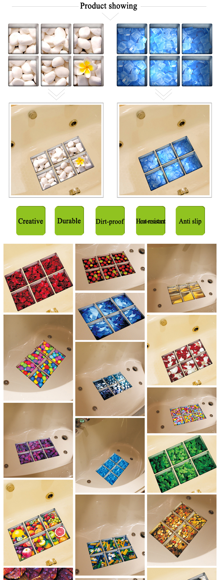 PAG 6pcs 13x13cm Block Pattern 3D Anti Slip Waterproof Bathtub Sticker