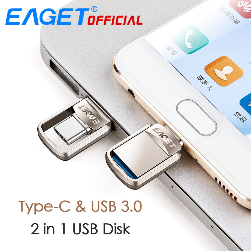 EAGET CU20 USB3.0 Type-C Pendrive USB OTG Type C 16GB 32GB 64GB Metal USB Flash Drive Dual Plug