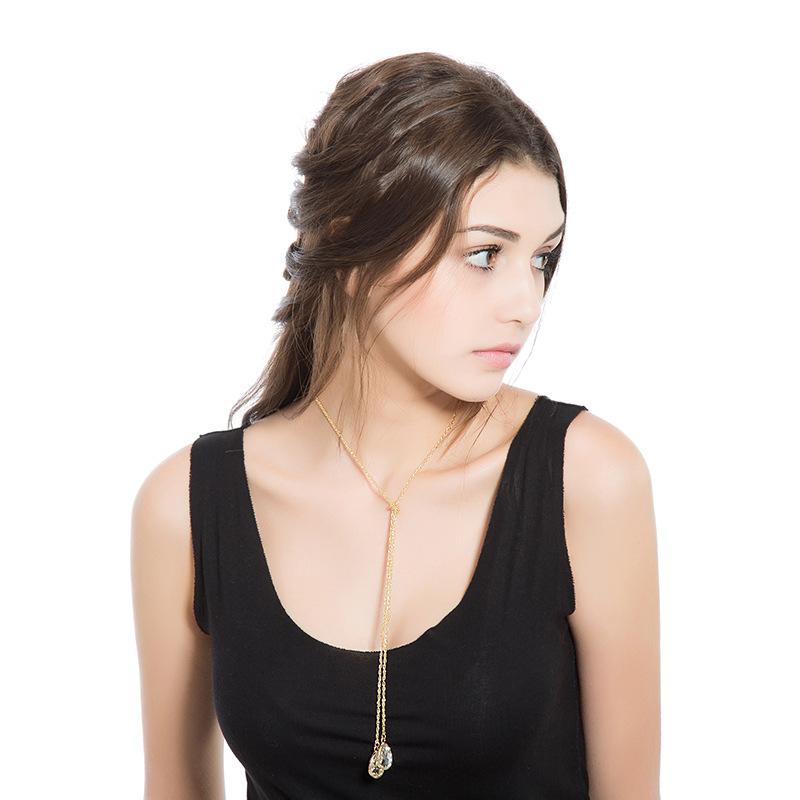 Trendy Water Drop Crystal Gold Y Lariat Long Necklace ...