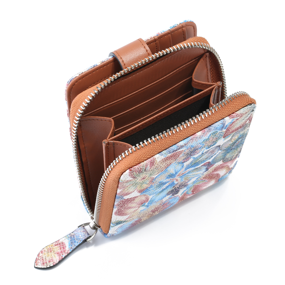 Brenice Women Short Wallet National Cowhide Floral 11 RFID Card Slots Coin Purse