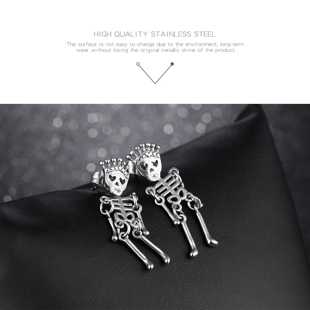 Unisex Vintage Stainless Steel Ear Stud Skull Earring Gift