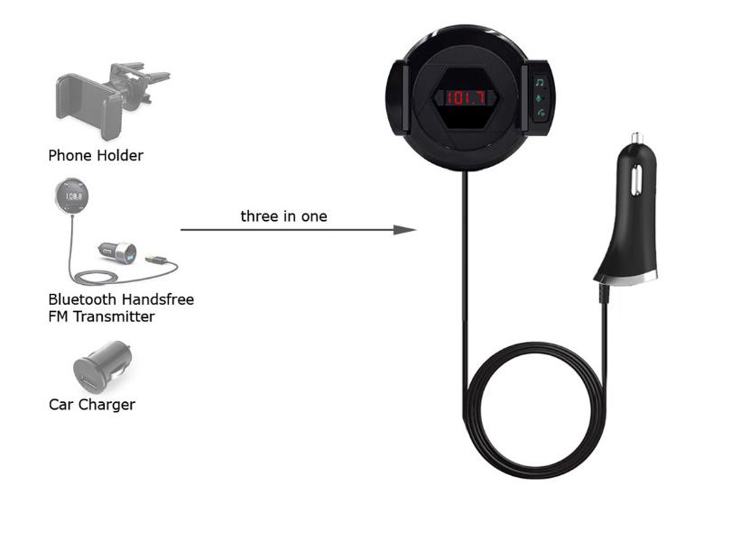 ALD60 Multifuction bluetooth Handsfree FM Transmitter Car USB Charger with Phone Bracket Holder