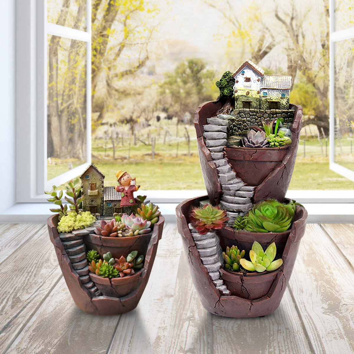 Sky Garden Potted Big House Micro Landscape Meat Plant Pots Flower Pot Resin Decorations