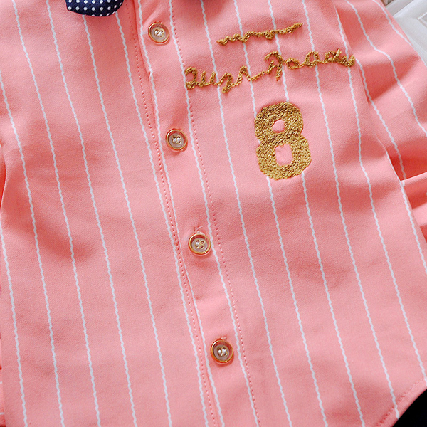 Lovely Kids Colorful Striped Lapel Shirt Denim Trousers Two-piece Suit