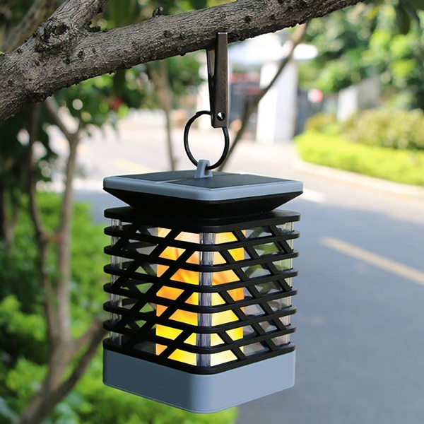 Solar Powered 75 LED Flame Effect Hanging Lantern Light Outdoor Waterproof Garden Lawn Tree Decor