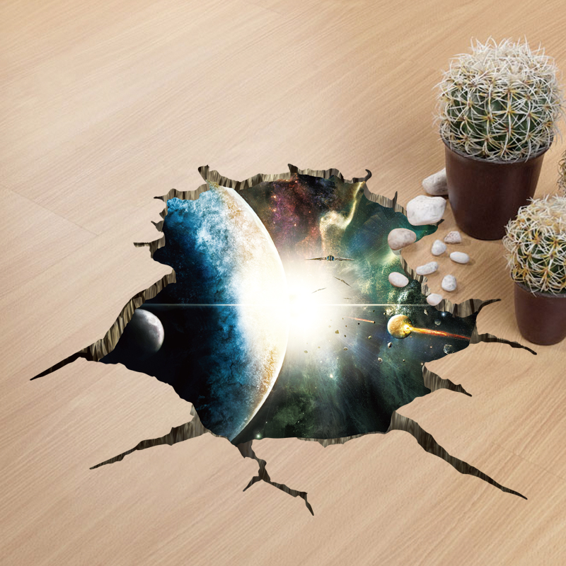 Miico Creative 3D Space Universe Planets Broken Wall Removable Home Room Decorative Wall Floor Decor Sticker