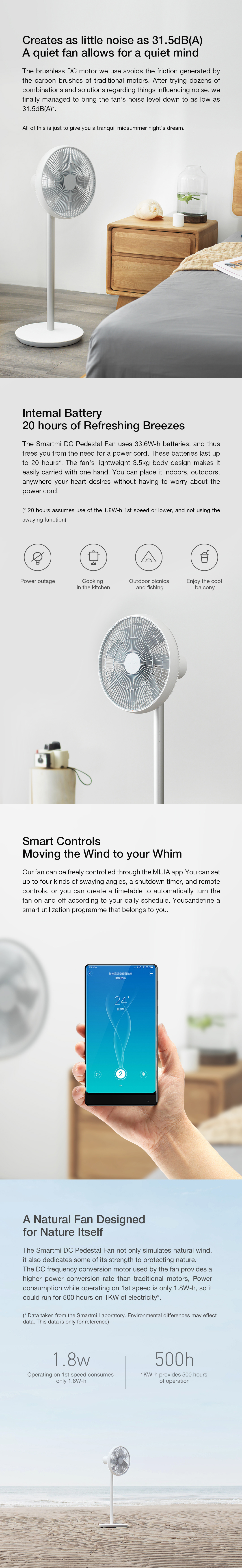 2019 New Version Smartmi Natural Wind Pedestal Fan 2S with MIJIA APP Control Lithium-ion Battery DC Frequency Fan 25W[XIAOMI Ecological Chain]