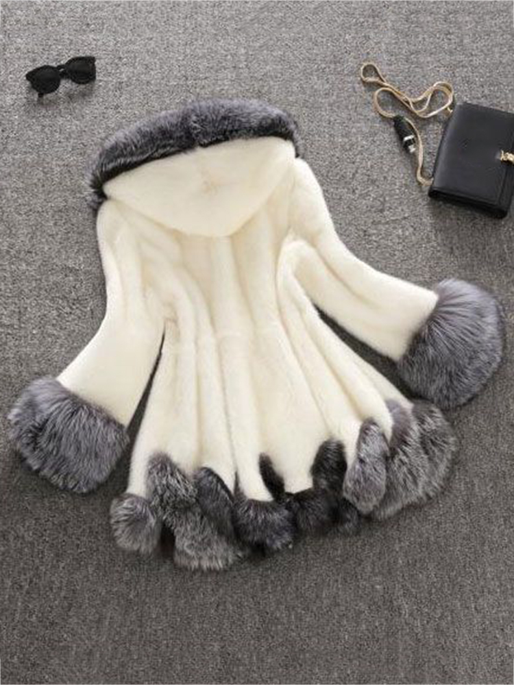 S-4XL Fashion Women Hooded Faux Fur Coats