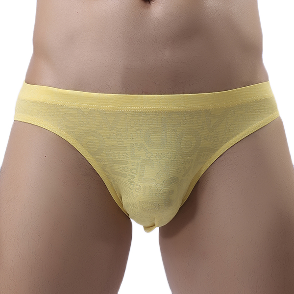 Mens Sexy Solid Color Super Thin Transparent Breathable Lace Seamless Briefs Underwear