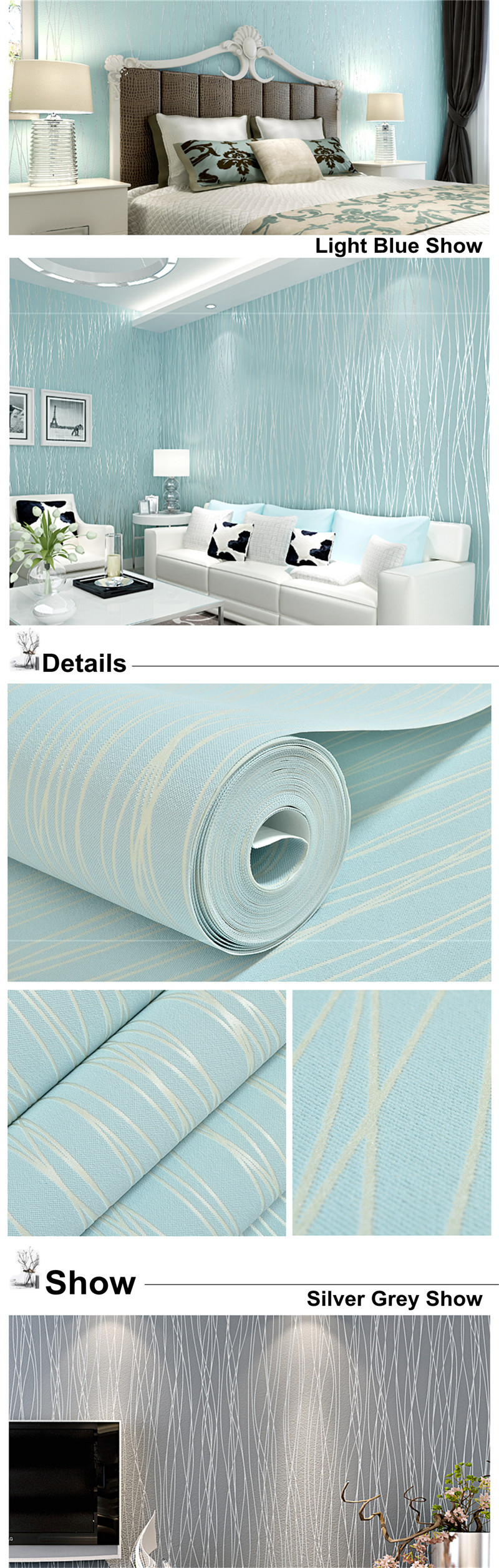 10M Nonwoven Colth Roll Wallpaper Solid Color Irregular Stripe Flannel Home Wall Decor